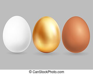 Three realistic eggs isolated on grey background