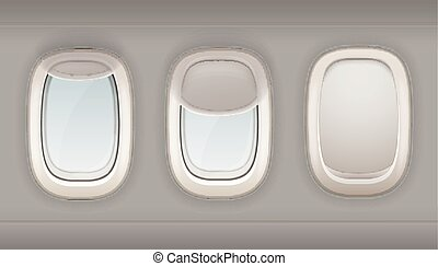 Three Realistic Portholes Of Airplane - Three realistic...