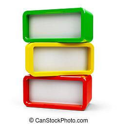 Three rectangle - three steps - Three color rectangle -...