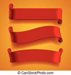 Three red banners
