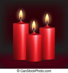 Three red burning candles on black background. Vector...
