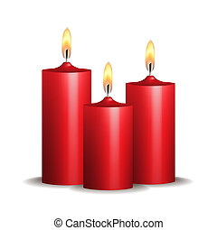 Three red burning candles on white background.