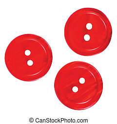 Three red buttons macro closeup isolated on white