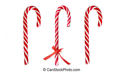 three red candy canes isolated on white background