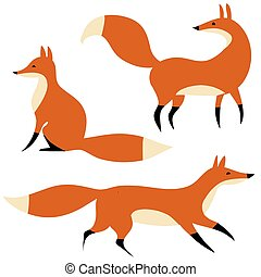 three red cartoon foxes in motion, isolated on a white...
