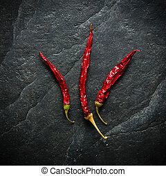 Three red chili peppers. Dry fruits. Acute burning taste.
