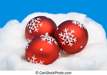 Three red Christmas balls