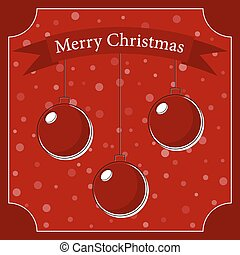 three red Christmas balls with a white shadow