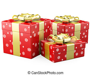 Three red Christmas gifts with a gold ribbon. Rendered on a white background with diffuse shadows.
