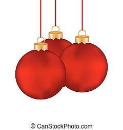 Three red Christmas-tree Christmas ball hanging on a clothesline on a white background