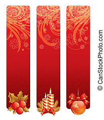Three red christmas vector banners with holidays symbols