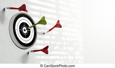 three red darts failed to hit the center of the target and a...