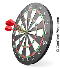 Three red darts hit center of board, isolated on white...