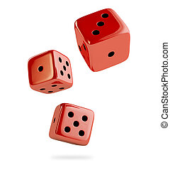 Three red dice on the white background 3D render