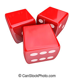Three Red Dice Rolling Taking Chance Gamble Game Casino 3 Blank Copy Space