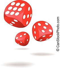 Three red dices in motion
