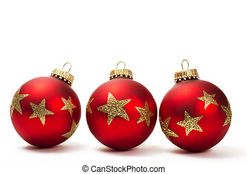 three red dull christmas balls with golden glitter stars on white background