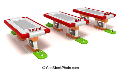 Three red filling stations