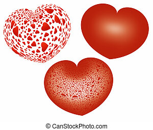 three red hearts over white background