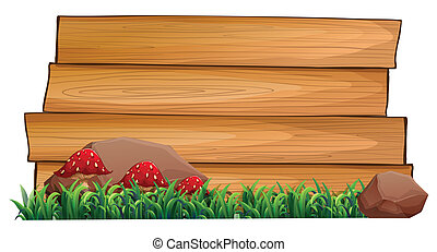 Three red mushrooms near the empty signboards
