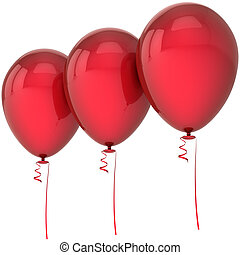 Three red party balloons blank