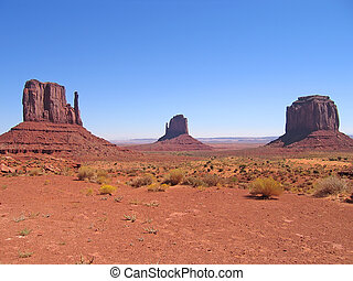 Three red peaks, Monument Valley National Park, United...