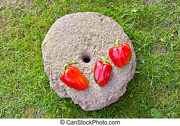 three red peppers on old millstone