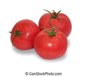 Three red ripe tomatoes isolated