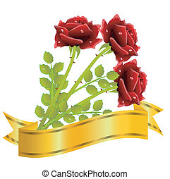 three red roses and gold ribbon