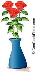 Three red roses in blue vase illustration