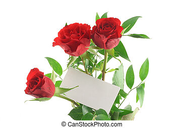 three red roses with blank love note
