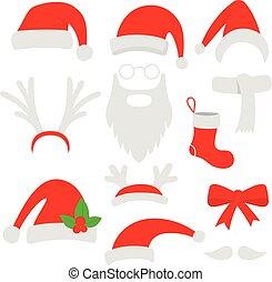 Three red santa hats, horns, mustache, beard and christmas stocking. Vector illustration.