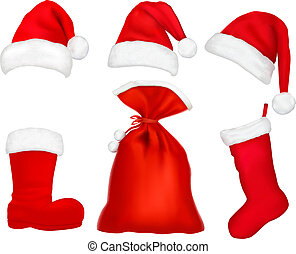 Three red santa hats. Christmas stocking and boot and bag....