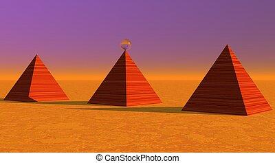 Three red striated pyramids in desert