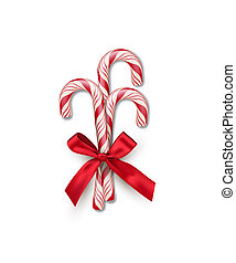 Three red striped candy canes with red bow isolated on white background. Vector Christmas and New Year design element.