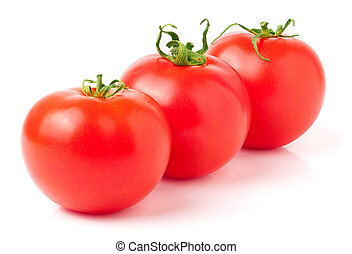 Three red tomatoes isolated on white background