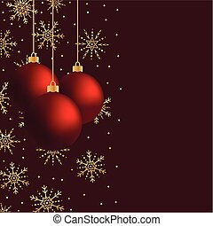 Three red vector hanging Christmas balls with gold snowflakes an