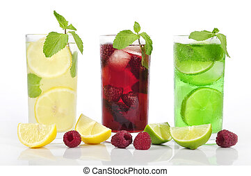 refreshing drinks - Three refreshing drinks in glasess with...