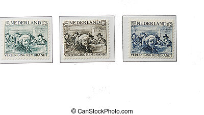 Three Rembrandt postage stamps of 1930