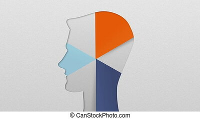 Three result shape of man head for diagram, chart....
