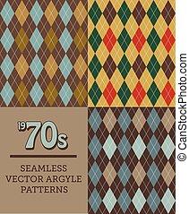 Three Retro 1970s-style Seamless Argyle Patterns