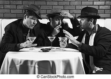 Three retro businessmen. - Three Caucasian prime adult males...