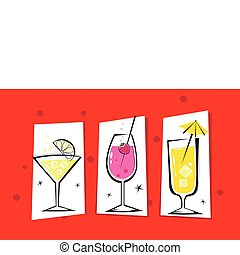 Three retro drinks isolated on red
