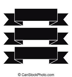 Three ribbons icon, simple style - Three ribbons icon....