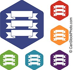Three ribbons icons set rhombus in different colors isolated...