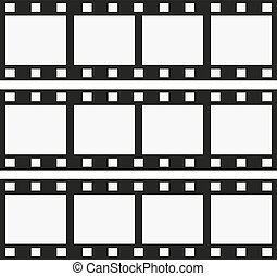 Three ribbons photographic film on a white background