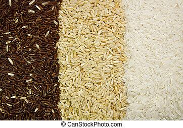 Three rice varieties.