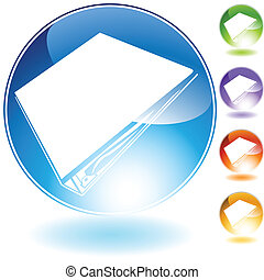 three ring binder icon crystal isolated on a white ...