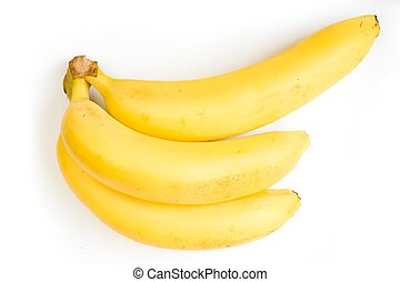three ripe bananas on a white background