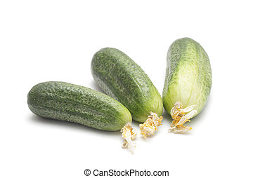Three ripe cucumbers isolated on white background